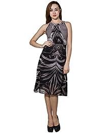 Panit Grey & Black Printed Georgette Dress