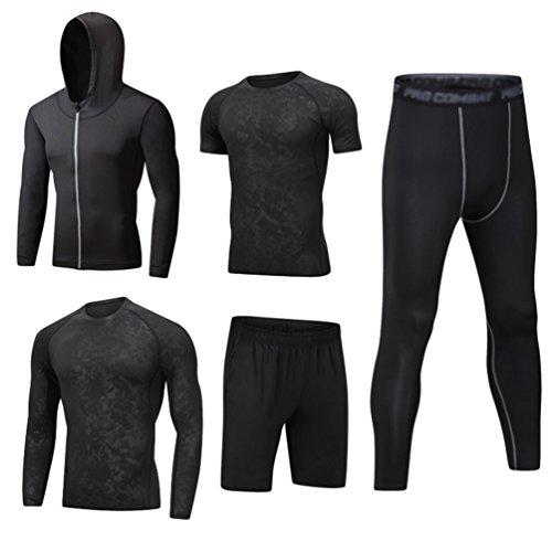 Dooxii Uomo 5 Pezzi Completi Sportivi Abbigliamento Giacca con Cappuccio Manica Corta Manica Lunga Camicie Compressione Pantaloni Compressione