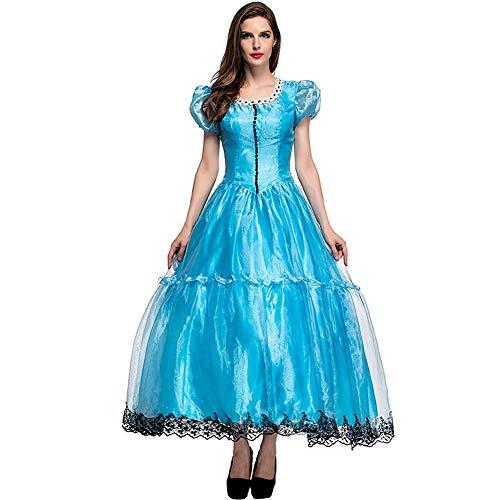 CHIYEEE Damen Märchen Prinzessin Kleid Alice im Wunderland Cosplay Halloween Party Rollenspiel Kostüm Blau M (Wunderland Kostüm Alice Disney Im)