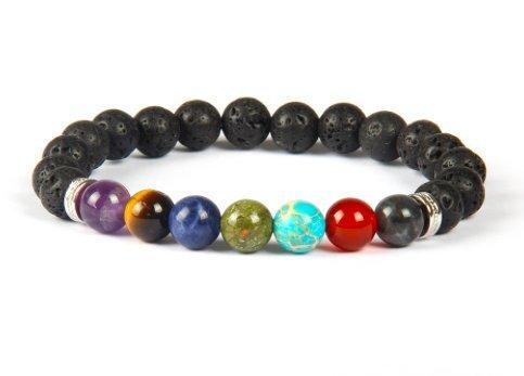 GOOD.designs sieben Chakren Perlenarmband aus echten Natursteinen, Energiearmband für Damen und Herren mit allen 7 Hauptchakren (7 Chakra Silber)