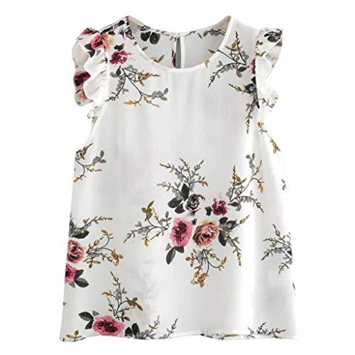 VJGOAL Damen T Shirt, Frauen Sommer Drucken Rüschenärmel Weste Oben Vest for Women(Mehrfarbig,S)