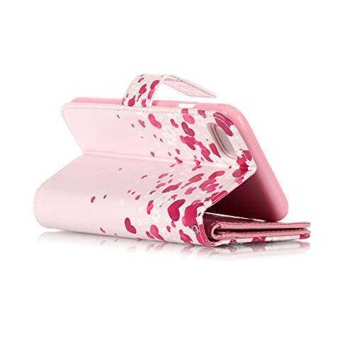 OuDu Housse iPhone 7 PLUS Etui de Portefeuille avec Fente pour Carte pour iPhone 7 PLUS Coque Flexible Doux Flip Leather Wallet Case Cover Bumper Etui Pochette en PU Cuir Coquille Mince Léger Couvertu Cœur