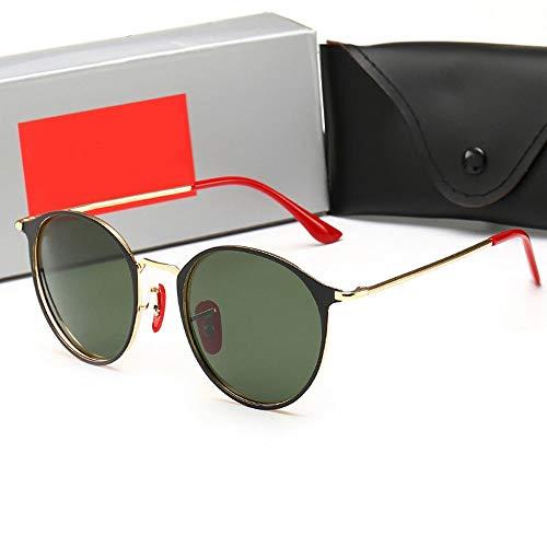 FANCYKIKI Klassische runde Rahmen polarisierte Sonnenbrille für Männer Frauen Vintage High-End-Sonnenbrille für Reisen im Freien (Farbe : Gold frame/dark green)