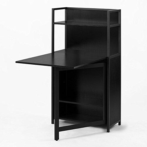SoBuy FWT12-Sch Table pliante, Armoire avec table pliable intégrée, Table d'ordinateur, Table de cuisine, table de rapas Bibliothèque, Bureau