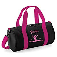 beyondsome Girls Personalised Splits Gymnastics Glitter Barrel Bag Dance School Kit, Black & Fuchsia/Pink Glitter Print