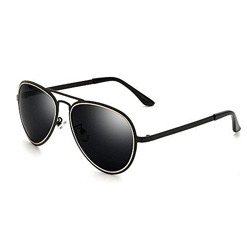 Xiuxiushop Polarisierte Sonnenbrille für Männer Outdoor Sport Eyewear ultraleichte metallische Metallrahmen HD-Objektiv (Color : Black)
