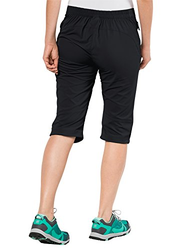 Jack Wolfskin Damen Activate Light 3/4 Pants Elastisch Atmungsaktiv Wasserabweisend Outdoor Softshell-Hose black