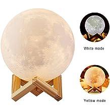 Lámpara de Noche, SIEGES Lámpara de Mesa en Forma de Luna, Brillo de Control Táctil de Dos Tonos, Inalámbrico con USB Recargable, Para Niños Lámpara de Cabecera de Regalo de Navidad, Diámetro 12cm