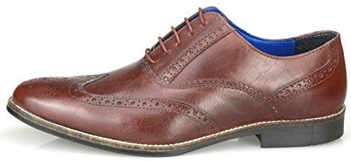Red Tape - Chaussures à lacets habillés en cuir pour homme - Fauve/bordeaux/marron/noir Bordo Brown
