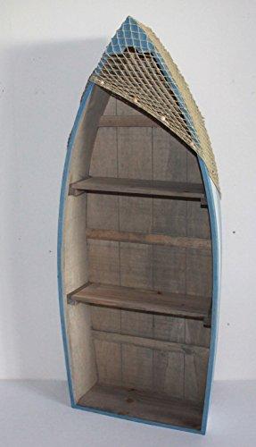 AAF Nommel  Boot Regal 91 x 38 x 13 cm, Kiefernholz, Maritim Dekor im Shabby Look, Nr. 011