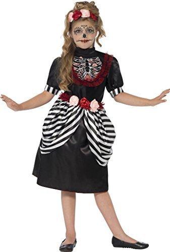 Mädchen Tag Der Toten Zuckerschädel Halloween Kostüm Größe L Passt Alter 10 bis 12 Jahre