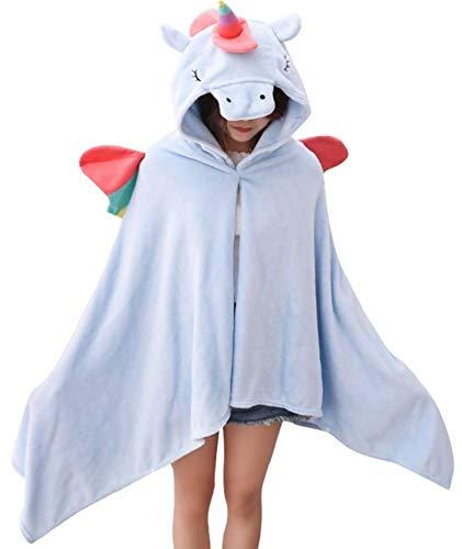 Unicornio Manta Capucha Mujer Niña Poncho Peluche
