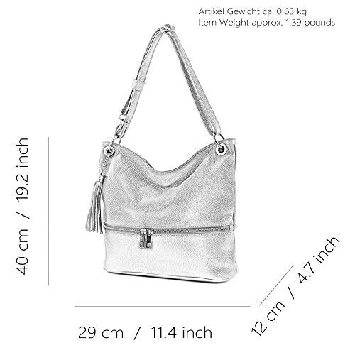 modamoda de - ital. Ledertasche Damentasche Umhängetasche Tasche Schultertasche Leder T143 Camel/Creme