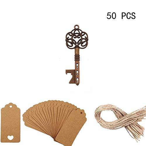 50 Pezzi Ancient Key Red Bottle Opener - Apribottiglie con Tag, Key Souvenir Articoli da regalo Bottiglia OpenerWedding, favori di...