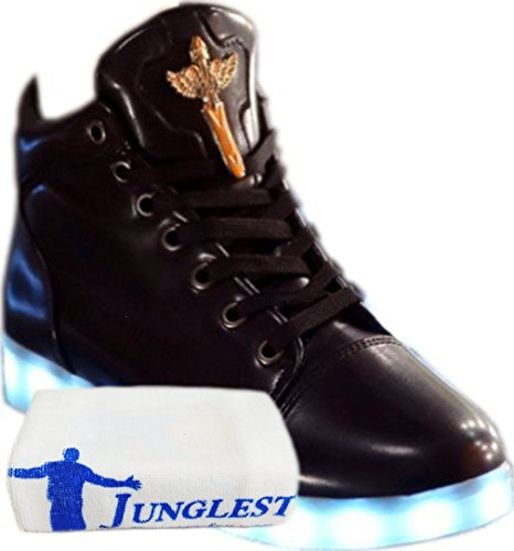 (Présents:petite serviette)JUNGLEST® KAKI Haute Qualité Croix dange LED Chaussures 7 Changements de couleur declairage LED clignotant Unisexe Sn Noir