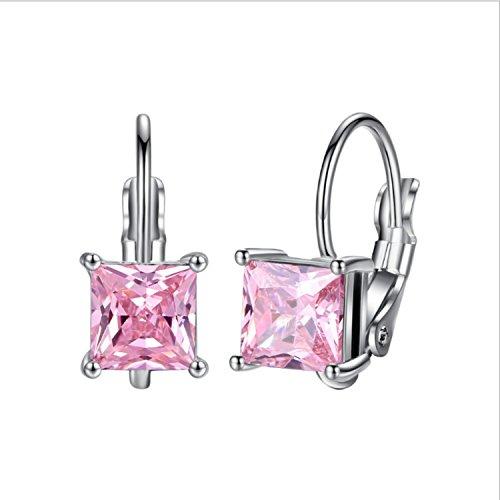 Yazilind Elegante JOYERIA Silber Aro Esparragos quadratisch Ohrringe mit Zirconia Cubico Lid für Frauen Mädchen Geschenk Rosa