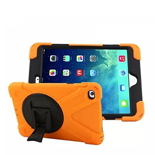 iPad Mini 4+ Antiurto a Prova di Caduta + protezione schermo + impermeabile Resistenza Cavalletto con rotazione 360pieghevole Out full-body robusta Combo ibrida heavy duty Dual Layer Custodia Grip Cover Armor Defender arancione Orange - Arancione Pirata