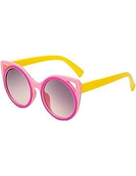 Occhiali da Sole per Bimba Bimbo Telaio in Plastica Gatto Tondo Colorato Protezione UV-Multicolore