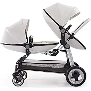 Wuyeti Double Baby Stroller Eggshell Twin High Landscape Pushchair Foldable Front And Rear Seat Adjustable Backrest Newborn Buggy (Color : White)   9