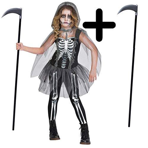 MFD Mädchen Kostüm Skelett Sensenmann + Sensenmann