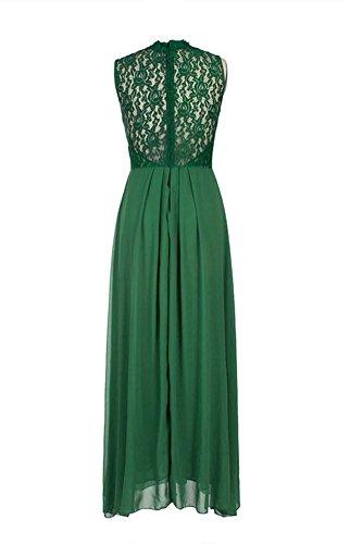 MILEEO Femme Robe Longue de Soiree en Dentelle et en mousseline de soie Elegant Dress Vert