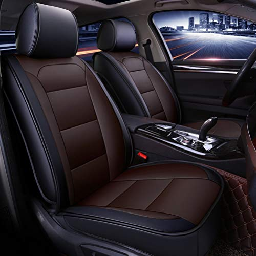 Yunchu Auto sitzbezüge Black & Brown Universal Autositzbezug Full Set Wasserdichtes Leder passend for die meisten SUV-LKW for Audi A3 / A4 / A5 / A6 / A8 / Q3 / Q5 / RS4