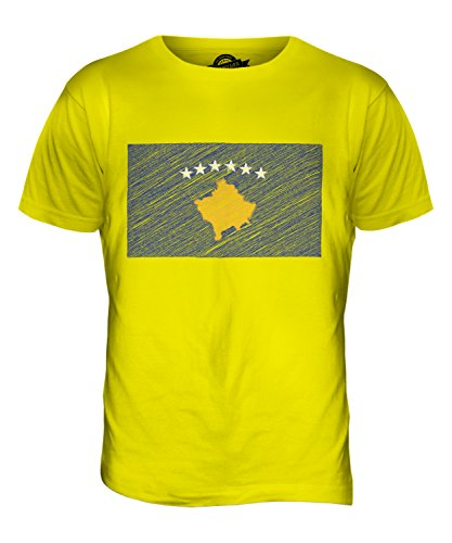 CandyMix Kosovo Bandiera Scarabocchio T-Shirt da Uomo Maglietta Giallo Limone
