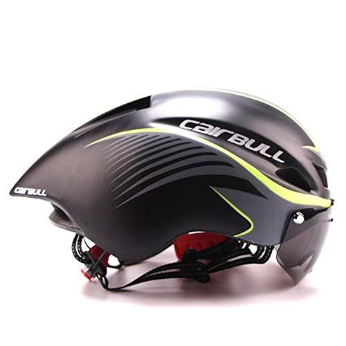 GMtes TT Fahrradhelm mit Brille, Rennrad Fahrrad Sportschutzhelm Reiten Herren Damen Racing In-Mold Zeitfahren Triathlon Helm,C