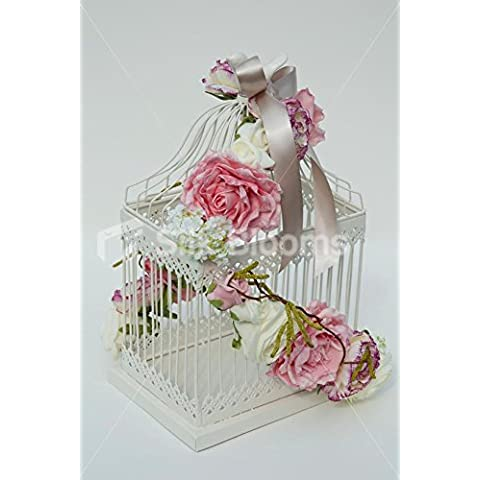 Marfil rosa Classic Vintage jaula de pájaros para pantalla de mesa