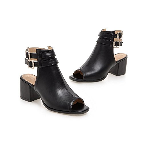 Adee Mesdames ankle-cuff haut talons Sandales en polyuréthane Noir