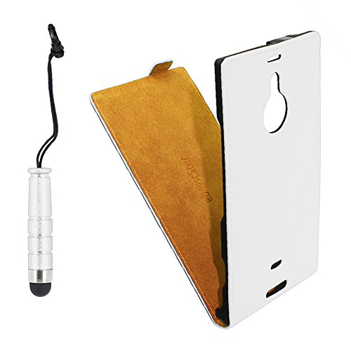 ebestStar - Nokia Lumia 1520 Hülle PU Kunstleder Etui mit Klappe, Handyhülle Schutzhülle Case Cover + Mini Stift, Weiss [Lumia 1520: 162.8 x 85.4 x 8.7mm, 6.0'']