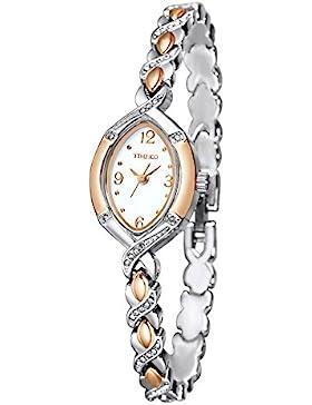 TIME100 Muttertag Armbanduhr Damen Edelstahl Ovale Shell Analog Quarz Silber #W50170L.01A