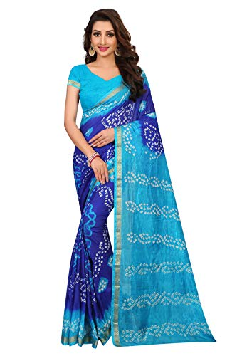 Dealsure Women\'s Bandhani Saree with Blouse Piece.
