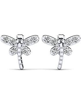 Moncoeur Libelle Ohrringe aus 925 Sterling Silber und Swarovski Flügeln in einem Luxusetui
