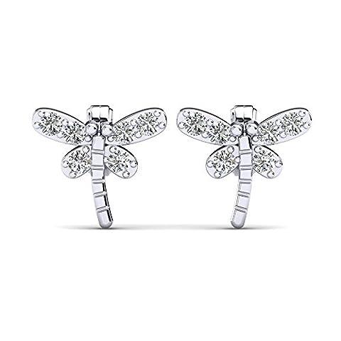 Moncoeur Libelle Ohrringe aus 925 Sterling Silber und Swarovski Flügeln
