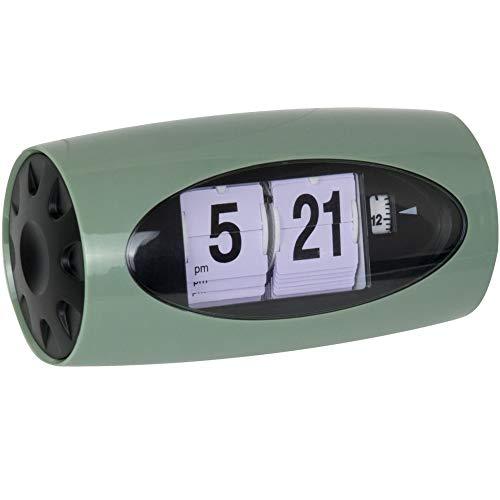 Anytime 38–2h-101–Despertador analógico de volets vulgares Flip Verde De Gris