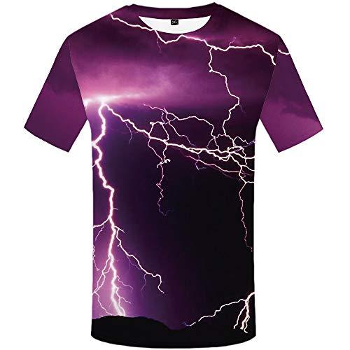 SUGDGJASGD Lightning T-Shirt Herren 3D Digital Print Shirt Lila Rundhalsausschnitt Casual Male Short Sleeve, m -