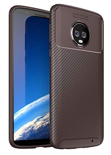 Case Collection Carbonfaser Design Hülle für Motorola Moto G6 Plus Hülle Komfortable Griffigkeit Slim-Fit [Schutz vor Stößen] Weiches TPU-Gel Gummi [Kratzfest] für Motorola Moto G6 Plus Hülle