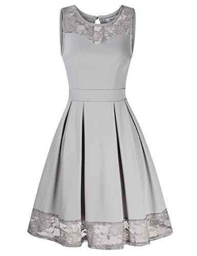 KoJooin Damen Elegant Kleider Spitzenkleid Ohne Arm Cocktailkleid Knielang Rockabilly Kleid Grau L