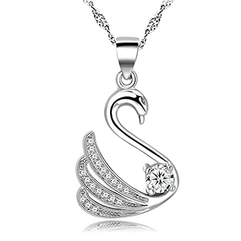 huiyin Jewelry® 18K plaqué or blanc transparent–Collier Femme–Oxyde de Zircon Collier en argent sterling Chaîne Wave 45,7cm