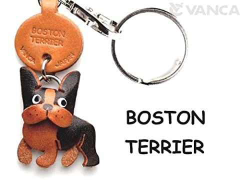 Boston Terrier Leather Dog Small Keychain VANCA CRAFT-Collectible keyring Made in Japan