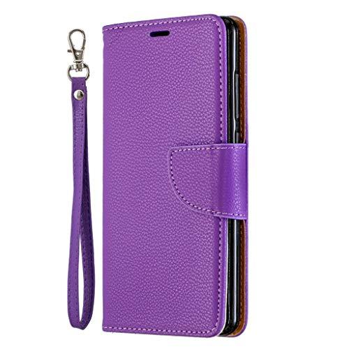 Beddouuk Lederhülle für iPhone XR,Premium Leder Flip Schutzhülle Magnetic Snap mit Ständer Funktion Case Cover Brieftasche mit Kartenfach für iPhone XR,Lila Lila Cover Case Snap