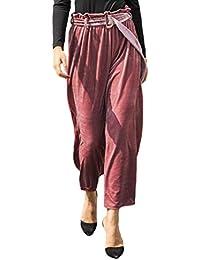 LINNUO Mujeres Elegante Pantalones Terciopelo Moda Anchos Pierna Pantalones  Cintura Alta con Cinturón 9ee1c589686b