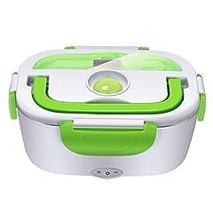 Idea Regalo - YISSVIC Scaldavivande Elettrico Portavivande Elettrico in Acciaio Inox Portatile con Vaschetta Estraibile per Campeggio Casa Ufficio ECC-Verde