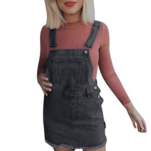 routinfly 2019 Neu Damen Denim Jeans Bügel Kleid,Frauen Sommer beiläufiges ärmelloses dünnes kurzes Minikleid Kaftan Freizeit Strand Sommerkleid -