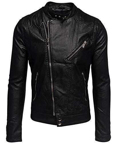 Herren Leder Jacke Biker Übergangsjacke Asymmetrisch H1533, Größe Jacken:XXL, Farben:Schwarz (gefüttert)
