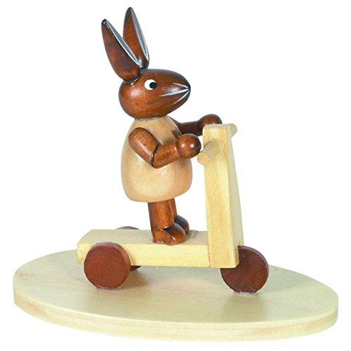 Osterhase Hase auf Kinderroller, H: 7 cm aus Holz im Erzgebirge Stil, Osterdeko, Osterfigur
