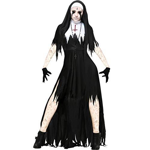 Fantasy Kostüm Nonne - ERFD&GRF Halloween Scary Nonne Cosplay Kostüm Damen Black Vampire Fantasy Hexe Kleid Terror Sister Party Disguise Weiblich Bruja Devil, 2, XL