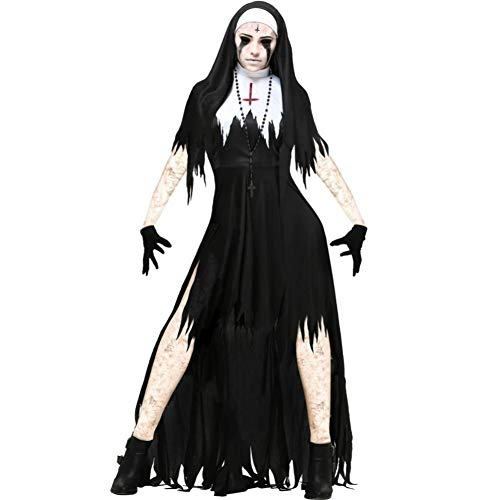 2 Baby Kostüm Audrey - ERFD&GRF Halloween Scary Nonne Cosplay Kostüm Damen Black Vampire Fantasy Hexe Kleid Terror Sister Party Disguise Weiblich Bruja Devil, 2, L