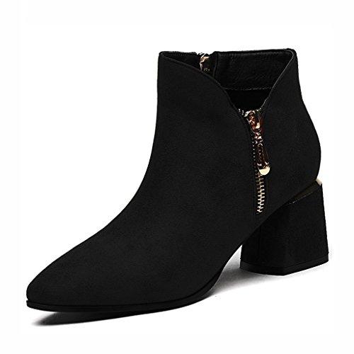 Chaussures femme HWF Chaussures Simples Printemps Femmes Femmes Chaussures Shallow Bouche Talons Hauts pointés en Cuir Noir Chaussures
